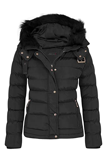 ea692bcf6e274 Womens Fur Hooded Belt Jacket Quilted Winter Button Long Faux Warm Padded  Shower Zip Outerwear Proof