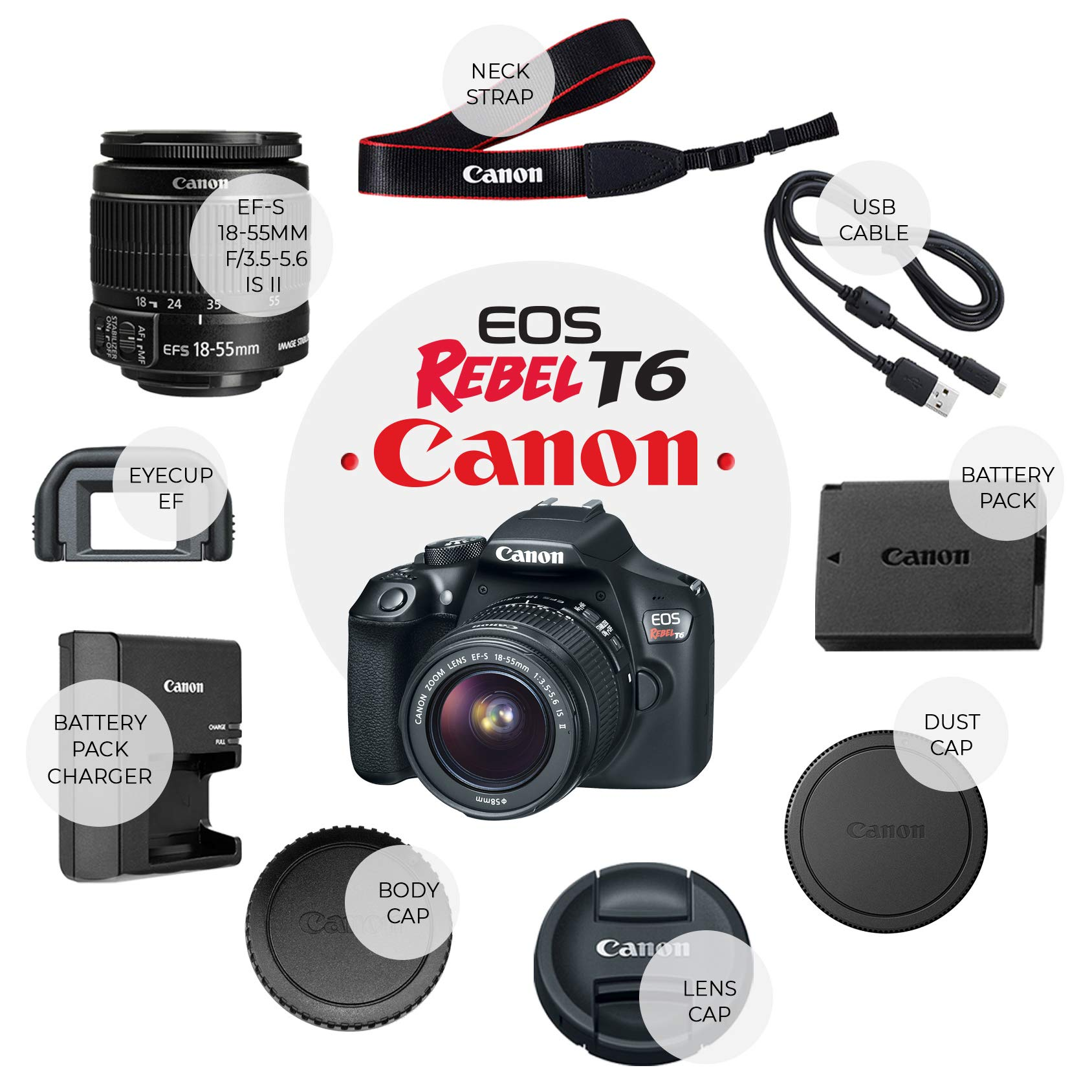 Canon Eos Rebel T6 Digital Slr Camera With 18 55mm Ef S F 3 5 5 6 Is Ii Lens 58mm Wide Angle Lens 2x Telephoto Lens Flash 48gb Sd Memory Card