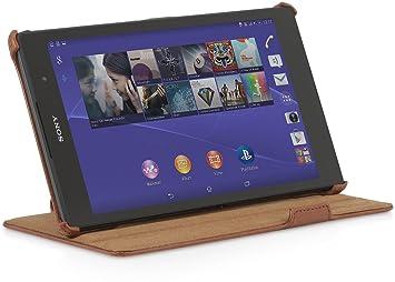 StilGut UltraSlim, Funda con función de Soporte para Sony Xperia Z3 Tablet Compact, Cognac Marrón