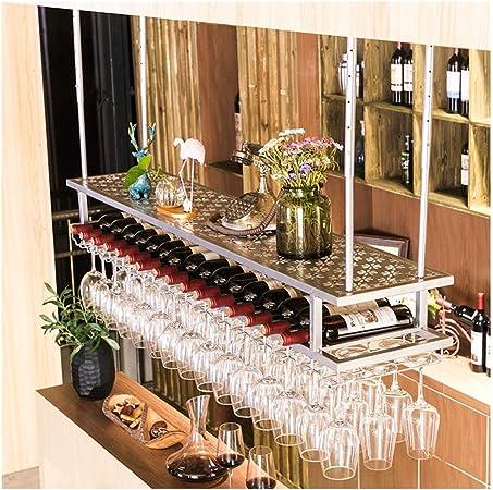 A RMLC Portabottiglie per Vino Industriale fissato al Muro con 5 gambi Portabicchieri in Metallo Rustico Scaffali galleggianti in Metallo per Vino da Appendere Cremagliera a 2 Livelli