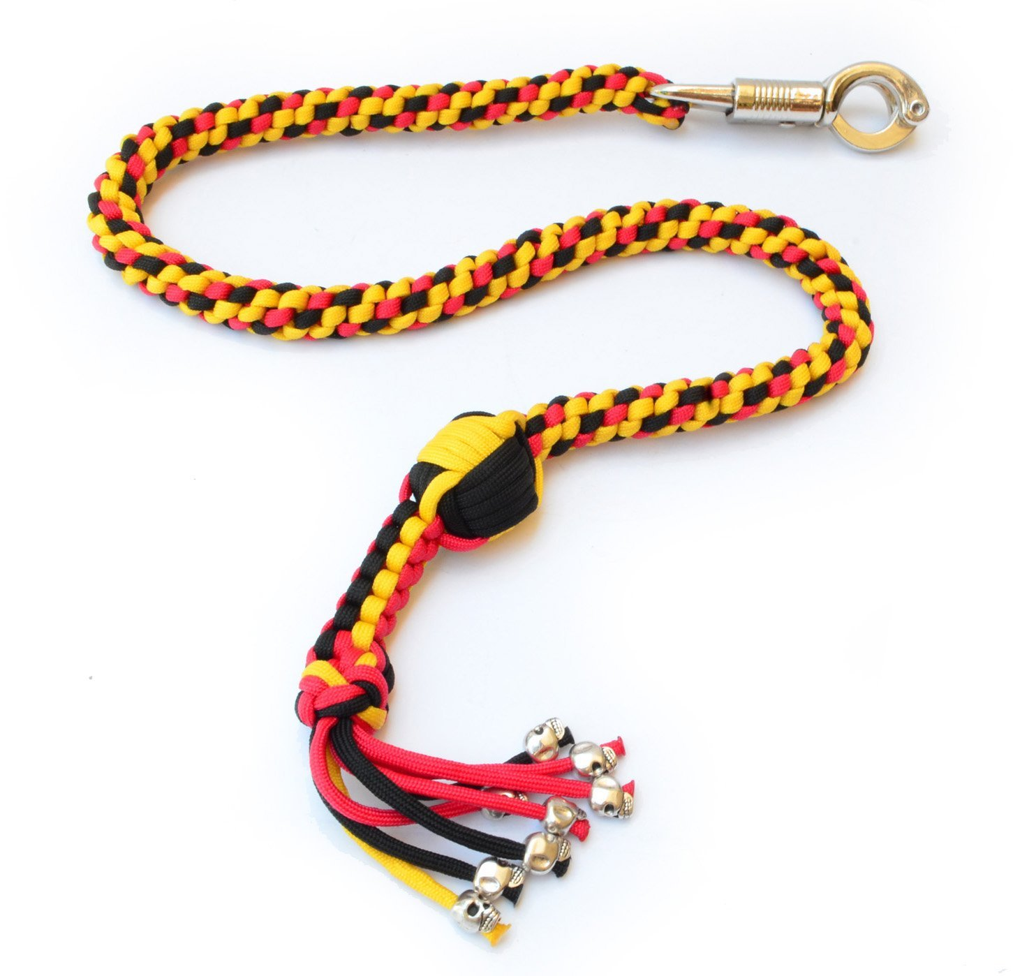 550 Paracord Motorcycle Whip Get Back Whip Ball & Skulls 36'' Rope - Yellow/Red / Black