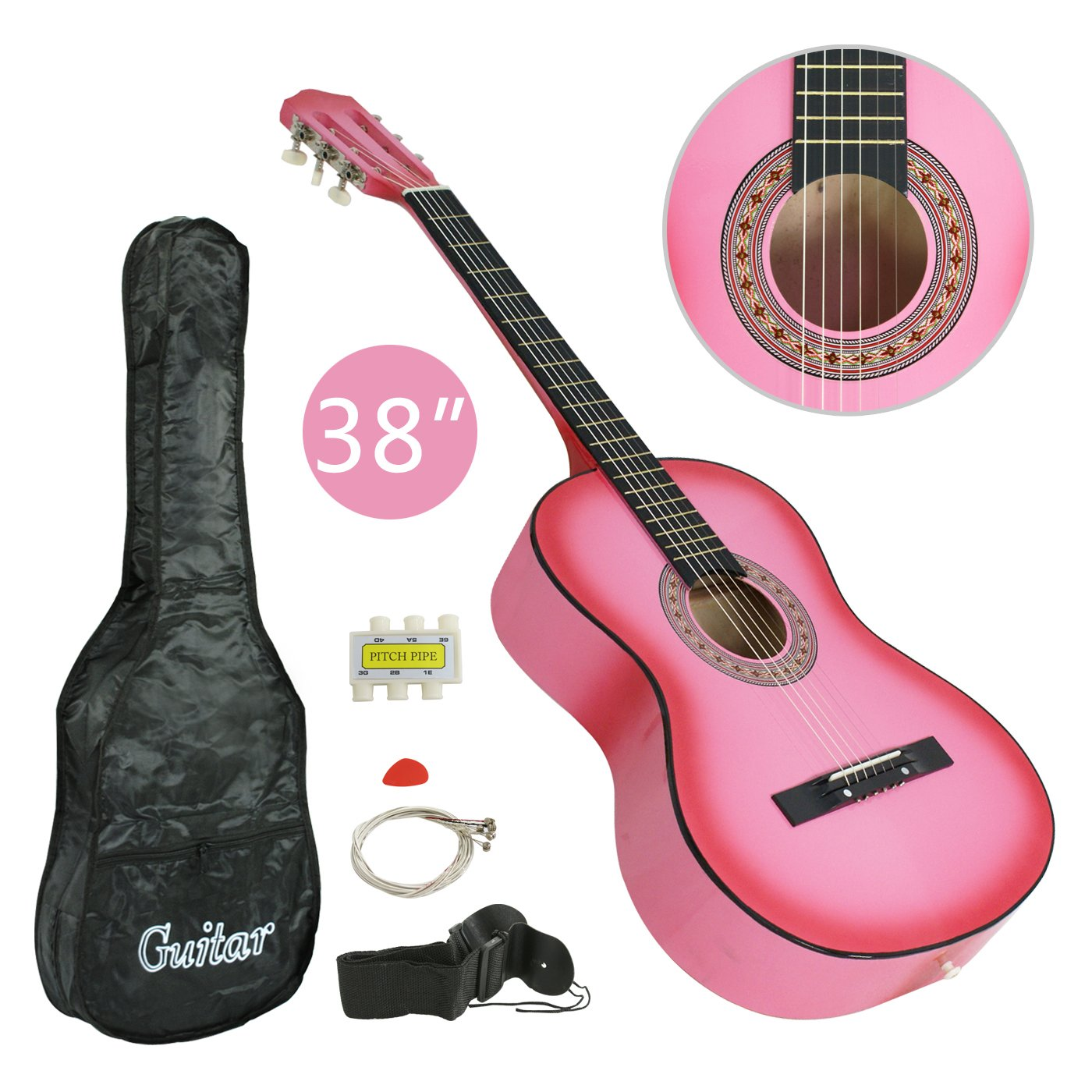 Smartxchoices PINK 6 String 38'' Acoustic Guitar Bundle with Gig Bag, Strap, Pitch Pipe, Extra Strings Set and Pick for Beginners Starter Kids Girls Youths Students