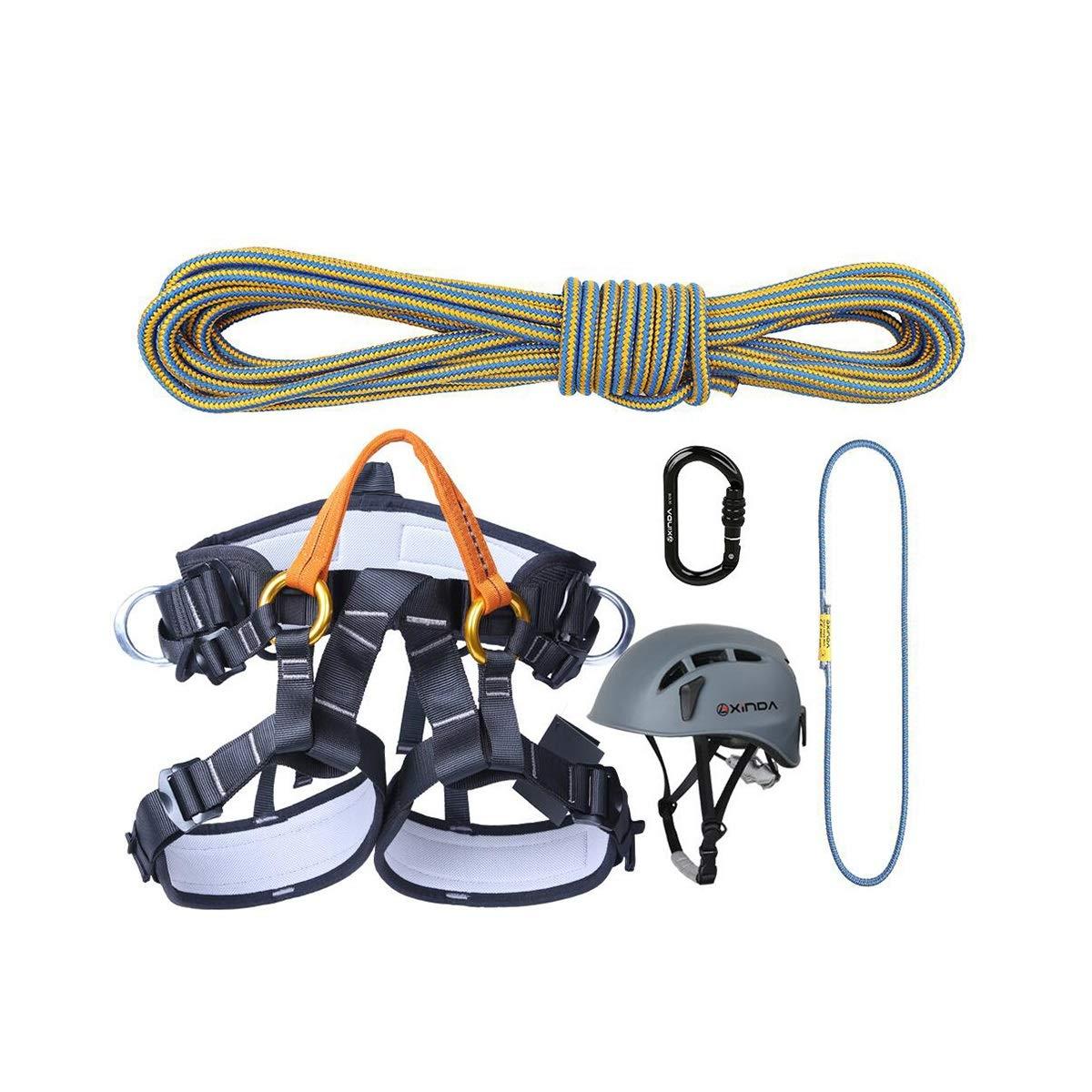 11.5MMクライミングロープ+ハーフボディハーネス+ Oタイプネジロックメインロック+クライミング&キャッチノット+ヘルメット (色 : A, サイズ : 50m) 50m A B07KS4XBMG