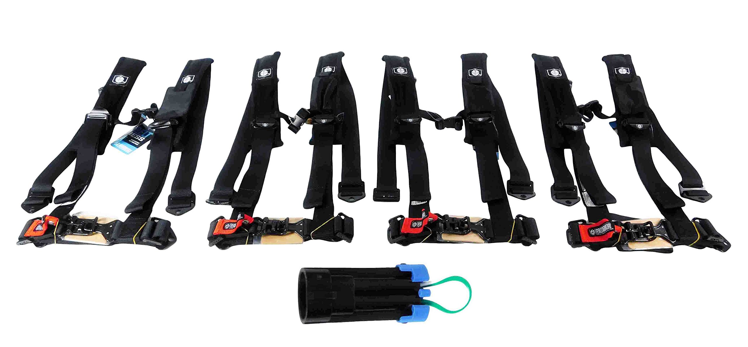 Pro Armor A114220 P151100 Black 4-Point Harness 2 Inch Straps, 4 Pack RZR UTV Seat Lap Belt with Bypass Clip by Pro Armor