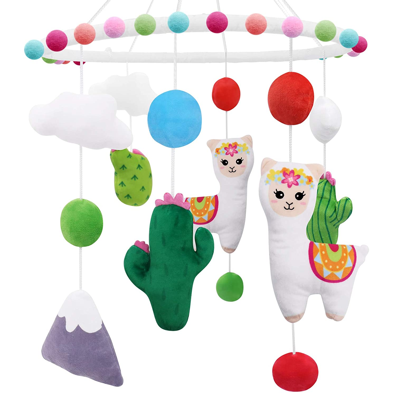 Llama Nursery Mobile, Alpaca Baby Crib Mobile Bohemian Cactus Plush Ceiling Hanging Baby Shower Gifts Infant Little Girls Boys Room Cot Decors