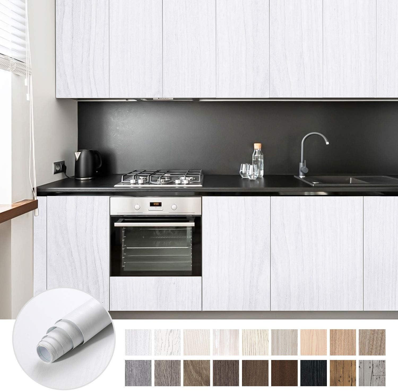 KINLO Papel Adhesivo Pintado Impermeable con la Imagen de Madera Pegatina de PVC para Decorar y Proteger Pegatina para Muebles Cocina Baño a Prueba de Agua de Moho 0.61*5M per Rollo