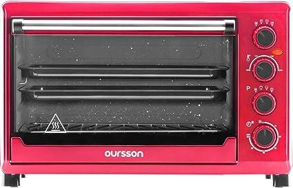 Oursson MO4225/RD - Mini Horno eléctrico con convección, autolimpieza catalítica, 4 años, 42 litros, 2000 W, 12 Combinaciones de Cocina, Color Rojo ...