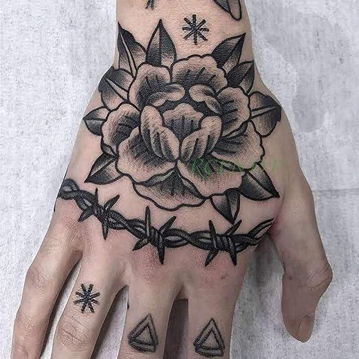 ljmljm 4 Piezas Pegatinas de Tatuaje a Prueba de Agua Rosa Flor ...