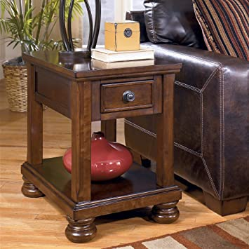 Amazoncom Rustic Brown Chair Side End Table by Ashley Furniture