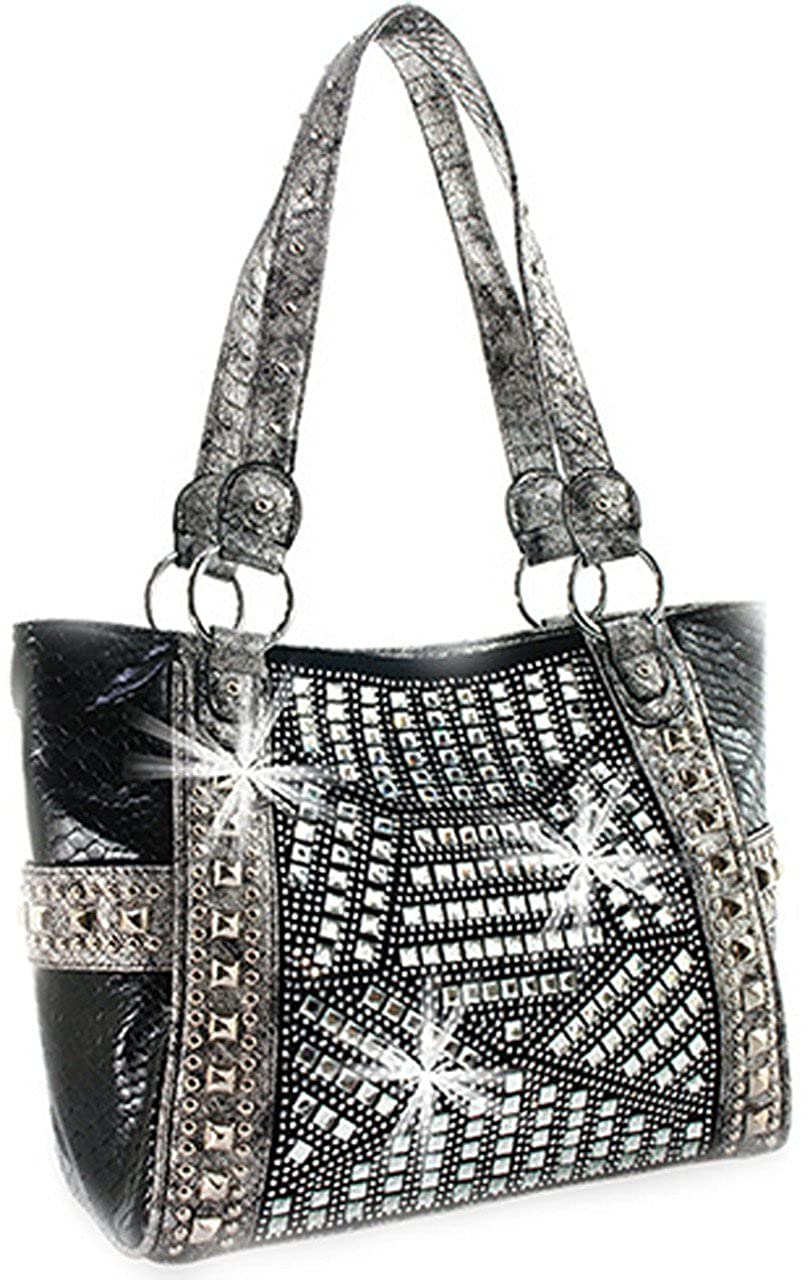Amazon.com  Zzfab Gem Studded Rhinestone Large Tote Bag Geomotry Black   Shoes f034136f73f9d