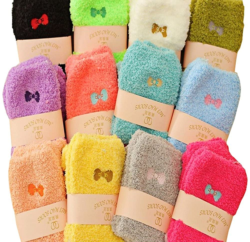 6 Pairs Womens Winter Warm Socks Fluffy Plush Slipper Socks