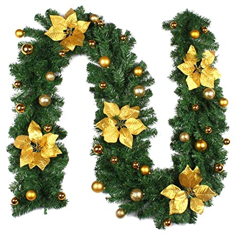 Amazon Com Ledmomo 9 Foot Christmas Garland With Gold Berries And