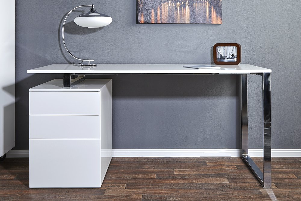 Bureau design compact blanc brillant bureau table cm chrome