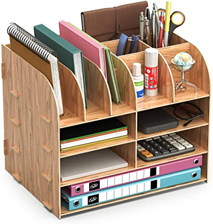 Lesfit Organizador Mesa Escritorio Madera, Organizar Sobremesa Escritorio De oficina Suministros: Amazon.es: Oficina y papelería