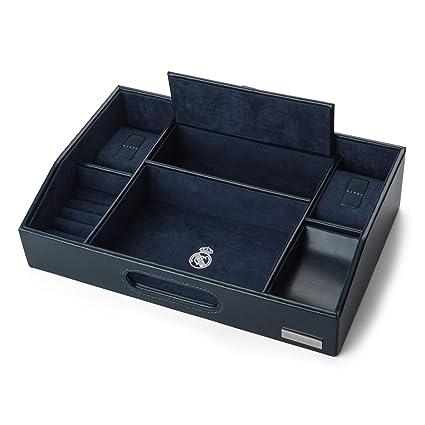 Real Madrid - Organizador Vacía Bolsillos Deluxe dividido en Compartimentos y Hecho a Mano con Piel de Calidad Premium. Color Azul RMJ-80017