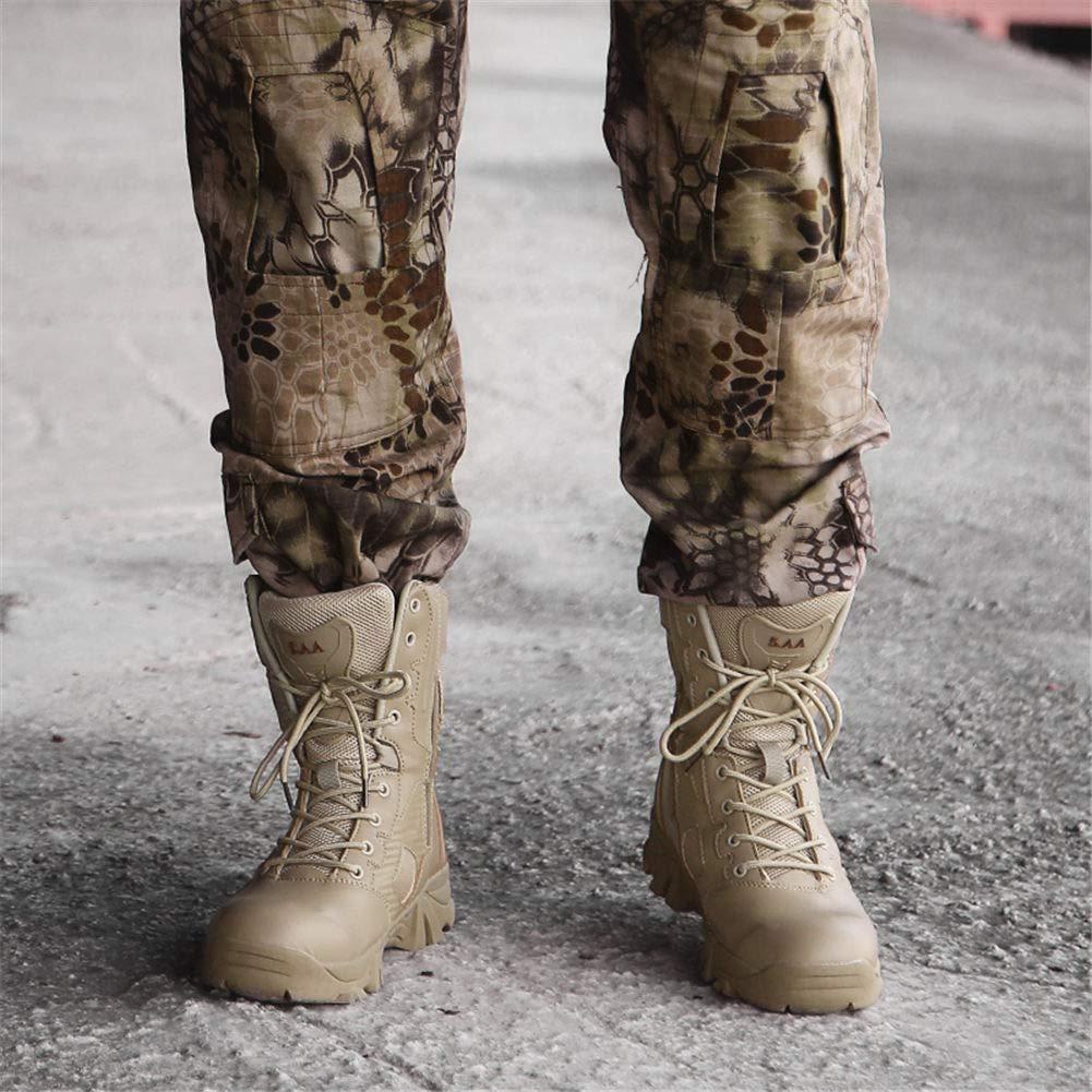 WOJIAO Botas Militares para Hombre Entrenamiento General Botas t/ácticas Impermeables Camuflaje Gris Oscuro Botas Deportivas para Exteriores
