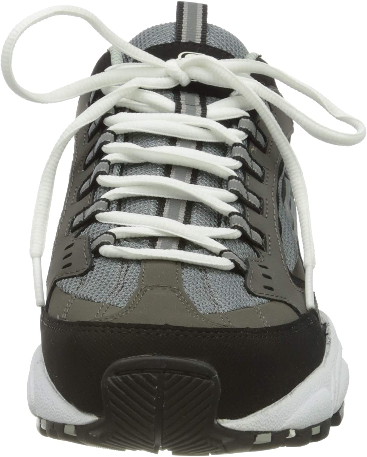 Skechers Stamina Cutback, Baskets Homme Gris Charcoal Leather Mesh Red Trim Ccrd