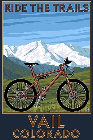 Lantern Press Vail, Colorado, Ride los senderos, para Bicicleta de montaña, Papel, Multicolor, 36 x 54 Giclee Print: Amazon.es: Hogar