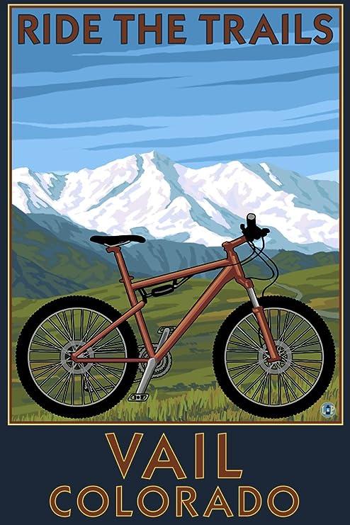 Lantern Press Vail, Colorado, Ride los senderos, para Bicicleta de ...