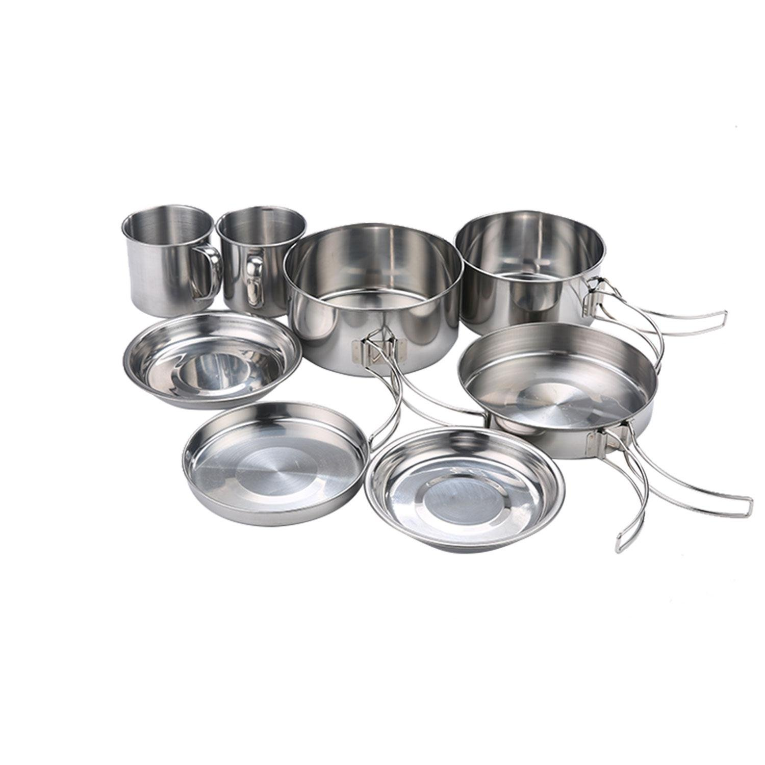 KOBWA Camping Stainless Steel Cookware Set, Picnic Hiking Camping Pots and Pans Set Cooking Mess Kit 8 Pcs - Lightweight and Durable