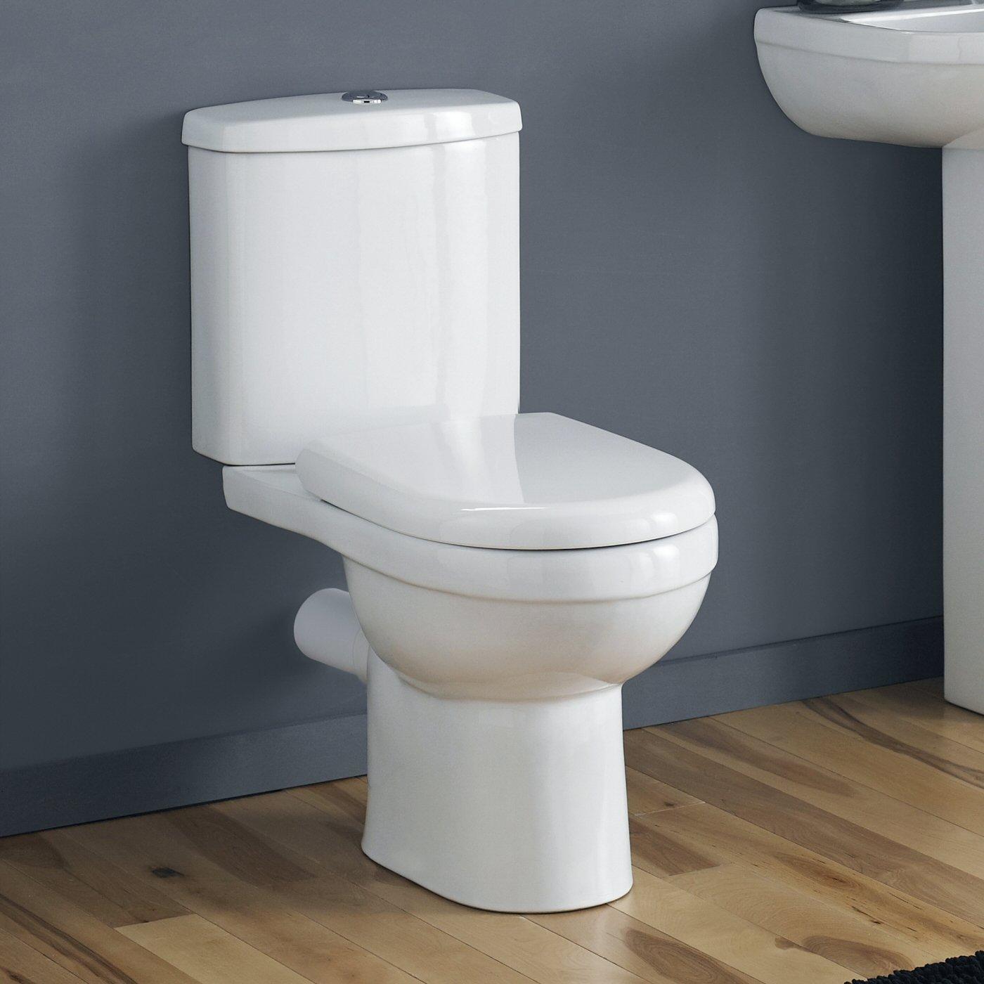 2-teilige Toilette mit Sp/ülkasten aus Keramik Inkl Hudson Reed Stand-WC Breve WC-Sitz inklusive Absenkautomatik Sp/ülmechanismus