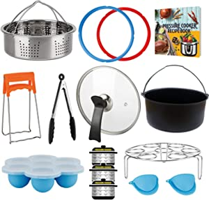3 Quart Accessories for Instant Pot, Including Cake Baking Barrel, Steamer Basket, Tempered Glass Lid, Silicone Sealing Rings, Egg Steamer Rack, Egg Bites Molds, and More