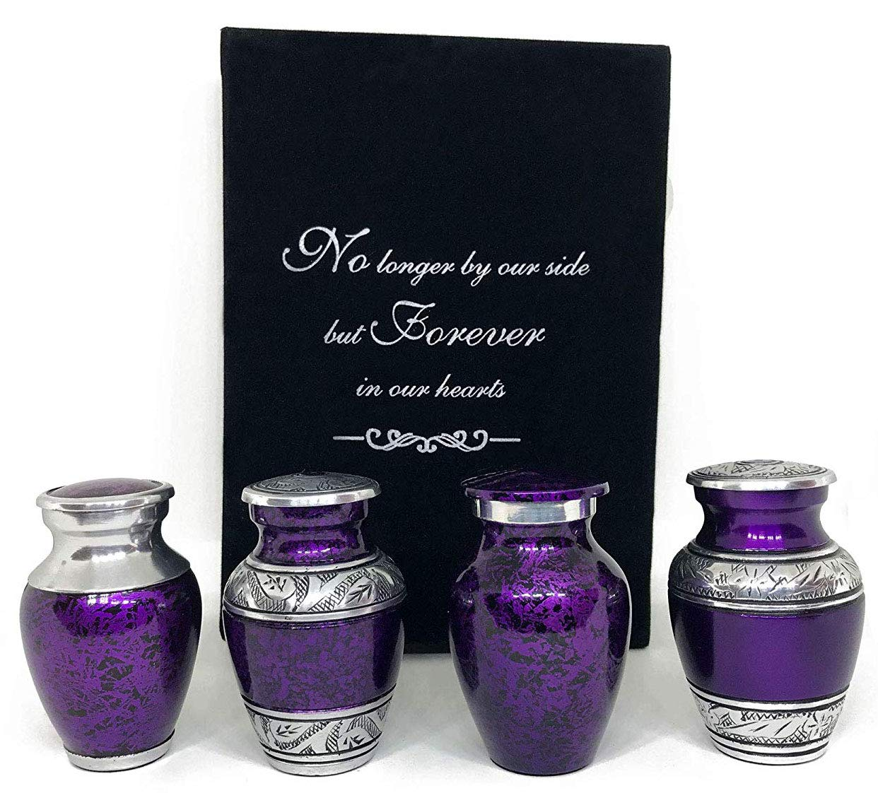 SolaceForever Mini Cremation Keepsake Urns for Human Ashes - Beautiful Small Urns Color Purple Set of 4 with Premium Case - Handcrafted Cremation Urns for Ashes - A Lasting Tribute to Your Loved One