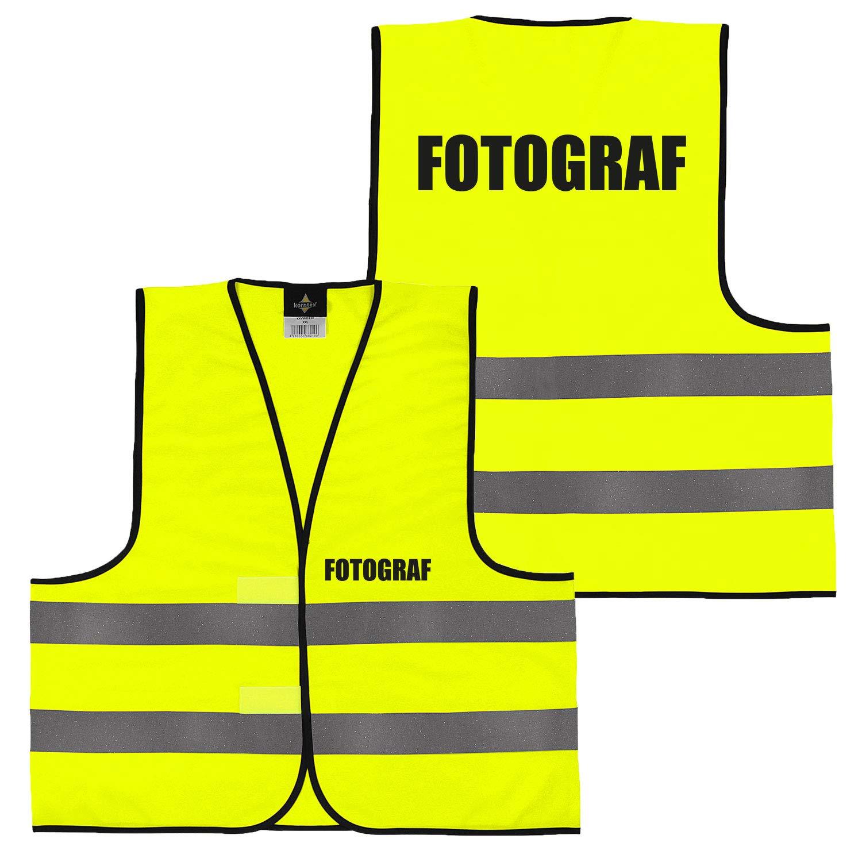 Security gro/ße Auswahl Motive Aufdrucke 019 Brandschutzhelfer beidseitig bedruckt auf Brust und R/ücken mit Ordner XL Warnweste Gelb Orange Gelb