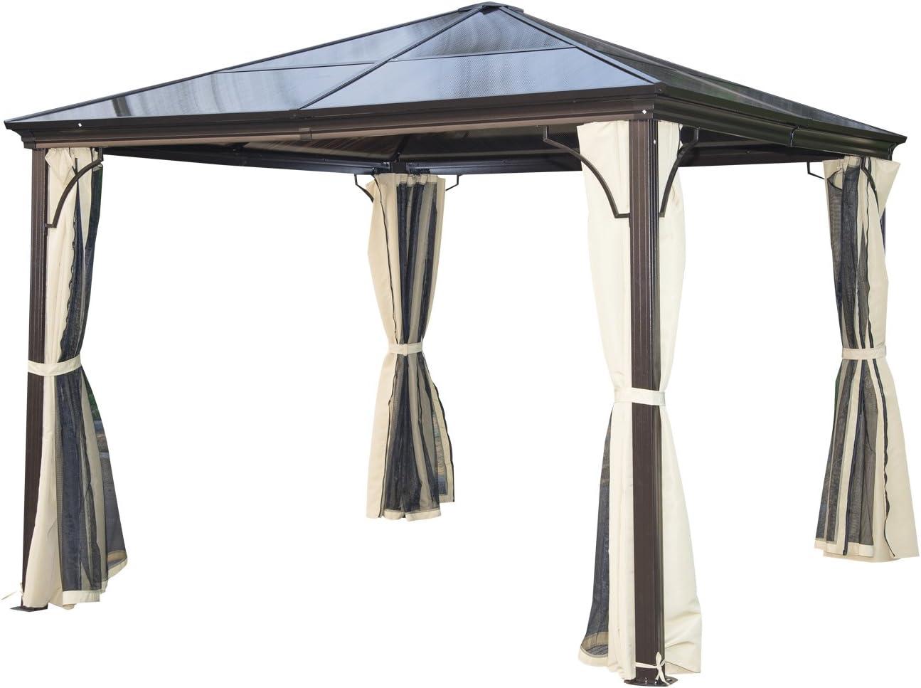 Outsunny - Cenador para jardín, Carpa de 3 x 3 m, con Estructura de Aluminio, Techo Duro y Paredes Laterales de Malla