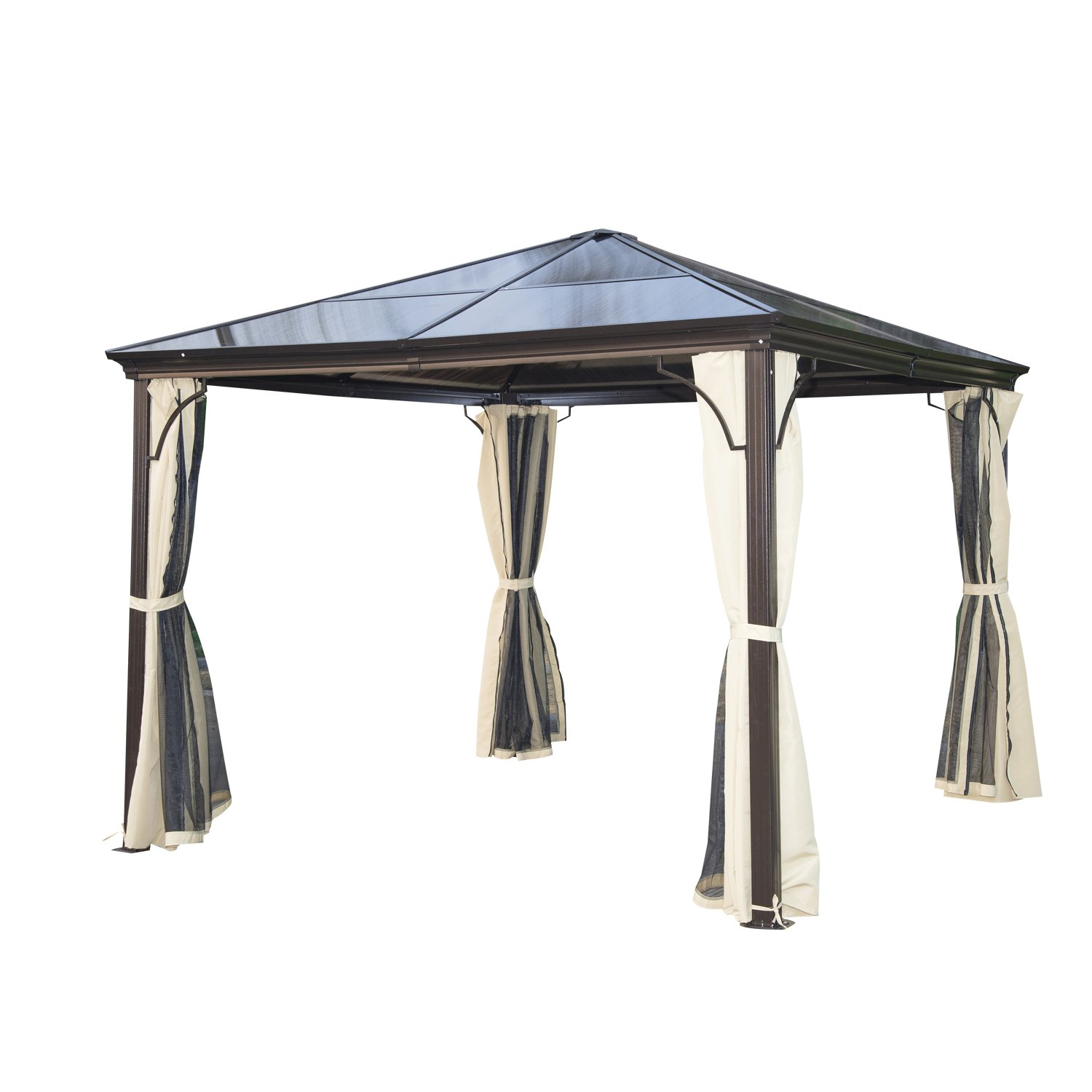 Outsunny 10' x 10' Aluminum Hardtop Gazebo w/Curtains and Nets- Black/Brown/Beige