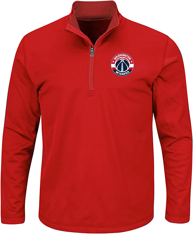 2X//Tall Red NBA Washington Wizards Mens B/&T Team 1//4 Zip Birdseye Poly Shirt