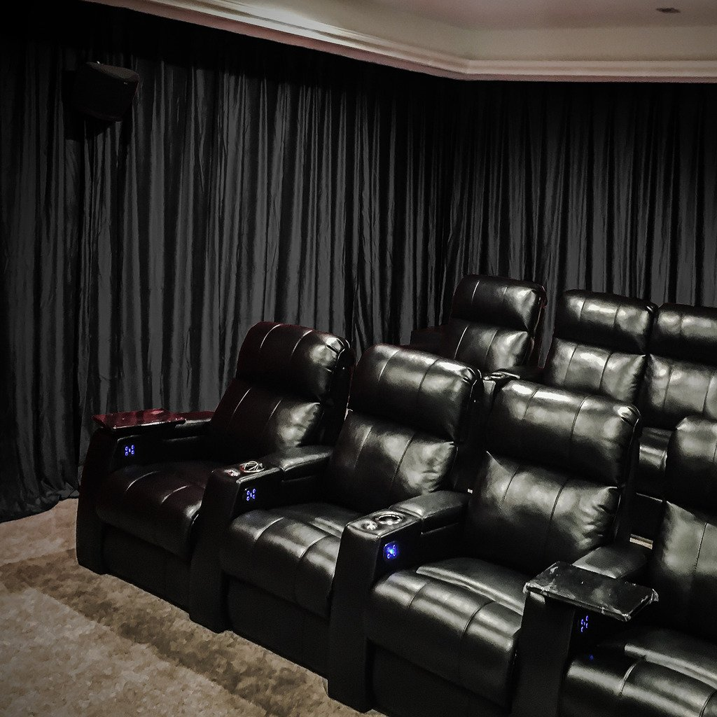 Velvet Blackout Lined Home Movie Theater Curtain Drapes Panel, Pinch Pleated 84W x 108''L (1 Panel) For Stage Event Auditorium, BLACK by Chadmade