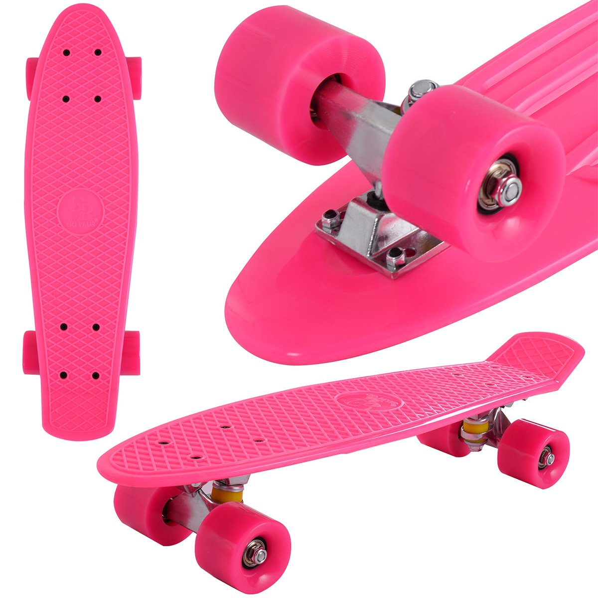 COSTWAY Skateboard Komplett Retro Skate Board Mini Funboard Minicruiser ABEC 7 Farbenwahlen (Rosa)