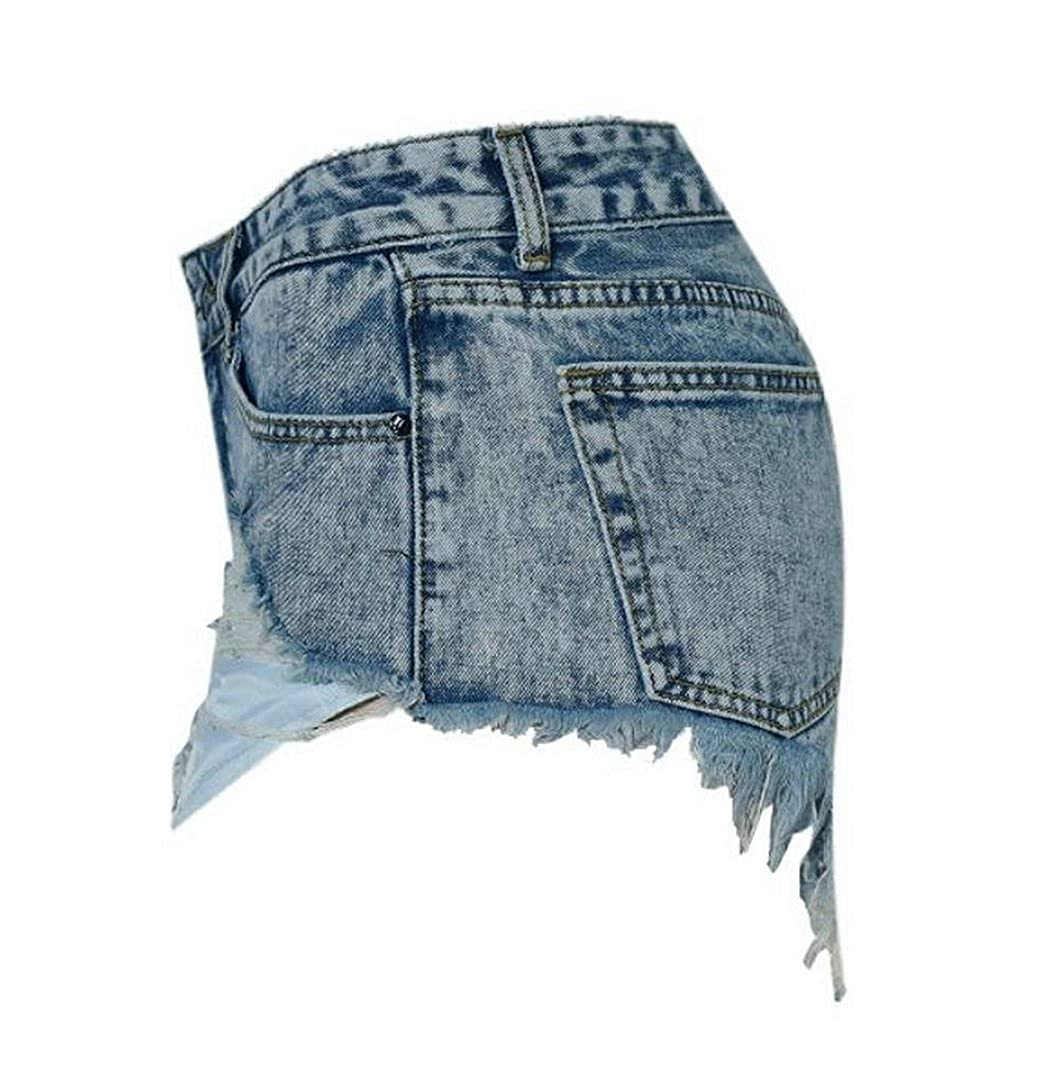 MMCP-Women Mid Waist Distressed Ripped Holes Denim Shorts Jeans Hot Pants