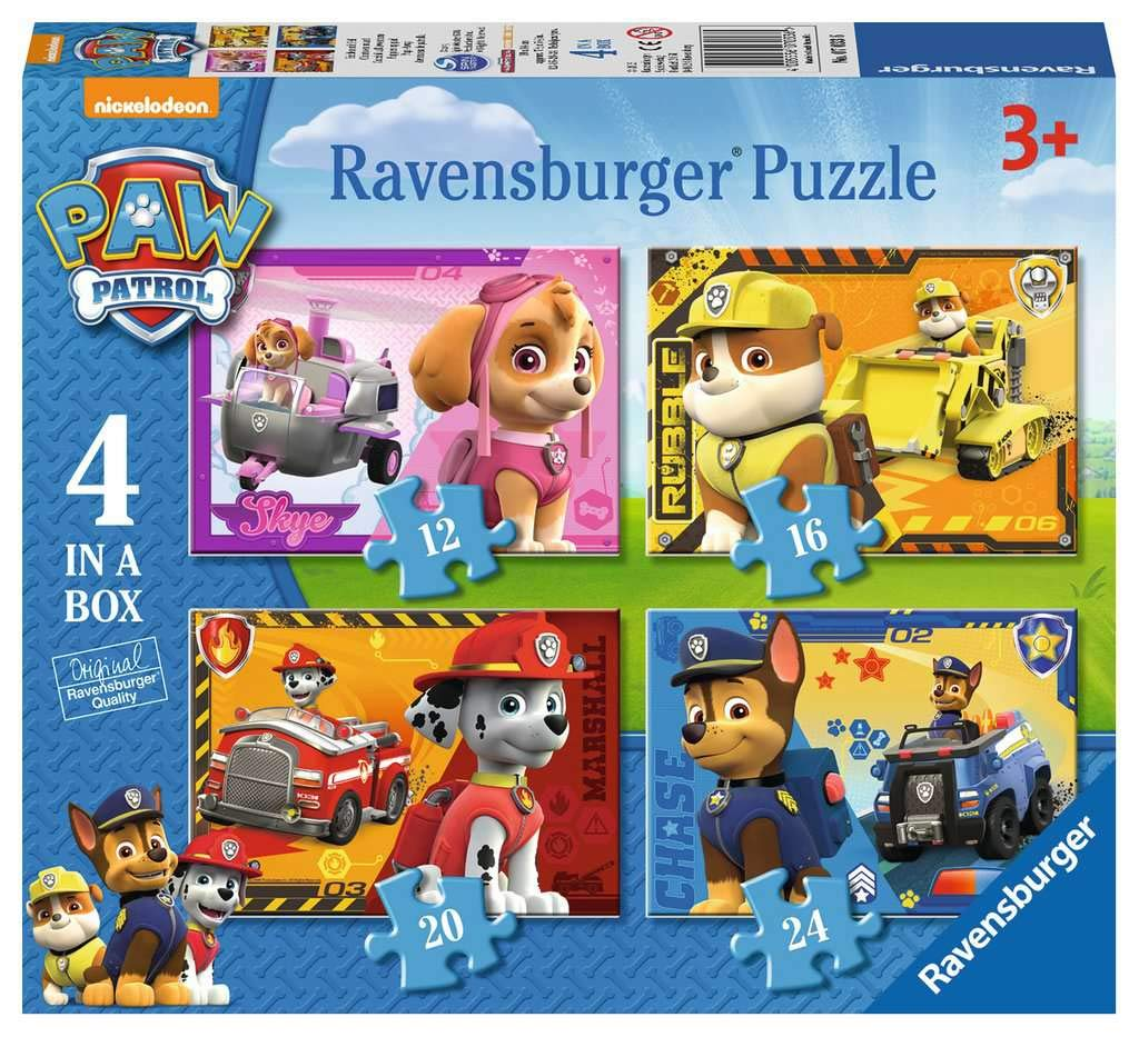 Ravensburger Paw Patrol - 4 in Box (12, 16, 20, 24 piece) Jigsaw Puzzles for Kids age 3 years and up