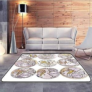 Carpet Floor Mat Repair of Watches Design Technical Theme Clockwork Retro Theme Horizontal Silver and Gold Cozy & Shaggy Modern Rugs Sturdy, Skid-Proof, 3 x 5 Feet