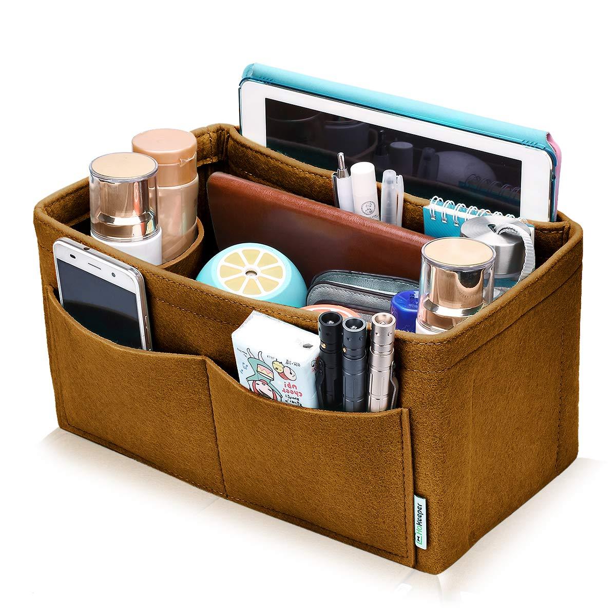 Hokeeper Felt Purse Insert Multi-pocket Organizer, Handbag Organizer, Bag in Bag, 11 Compartments, 4 Sizes, 6 Colors