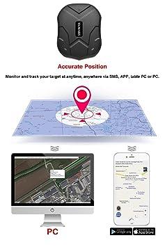 GPS Tracker Plotter Tiempo real Localizador del coche Vehículo Moto de GPS Locator/SIM/GPRS Tracking Antirrobo con Mobile APP, imán potente y batería, tkmars: Amazon.es: Electrónica