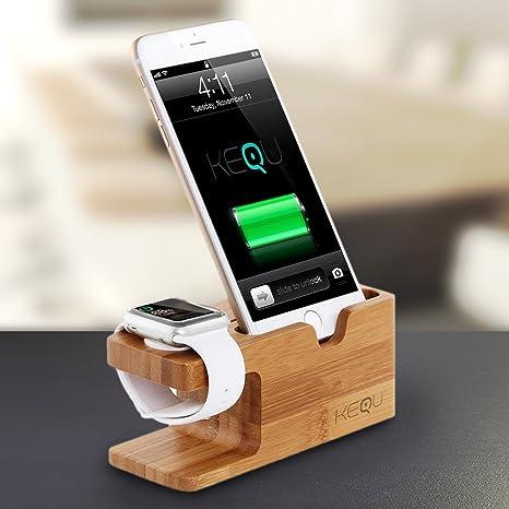 Keque - Base de Carga de Madera para Apple Watch y iPhone 6 6S 5S 5C 5