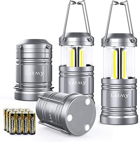 4 Pack LED Camping Lantern Flashlight with 12 AA Batteries – Magnetic Base – New COB LED Technology Emits 500Lumen – Collapsible, Waterproof, Shockproof Camping Light with Detachable Handles by LETMY