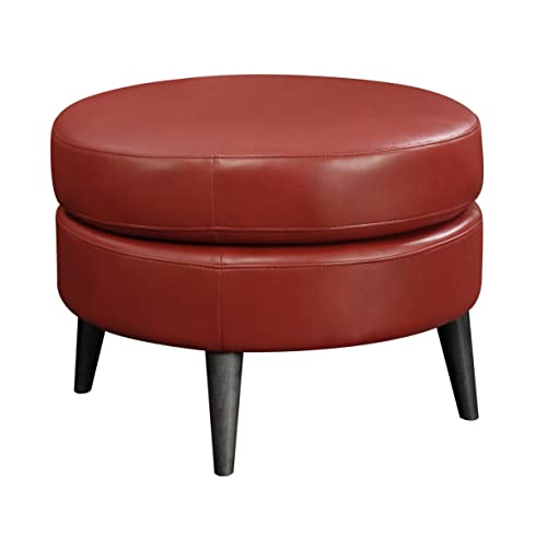 Emerald Home Oscar Red Ottoman with Faux Leather Upholstery, Fixed Cushion, And Solid Wood Legs
