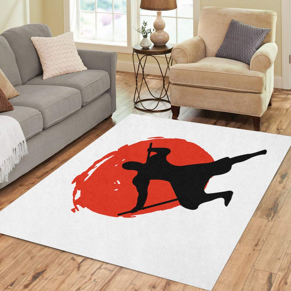 Semtomn Area Rug 3' X 5' Action Ninja Warrior Silhouette on Red Moon and African Home Decor Collection Floor Rugs Carpet for Living Room Bedroom Dining Room by Semtomn