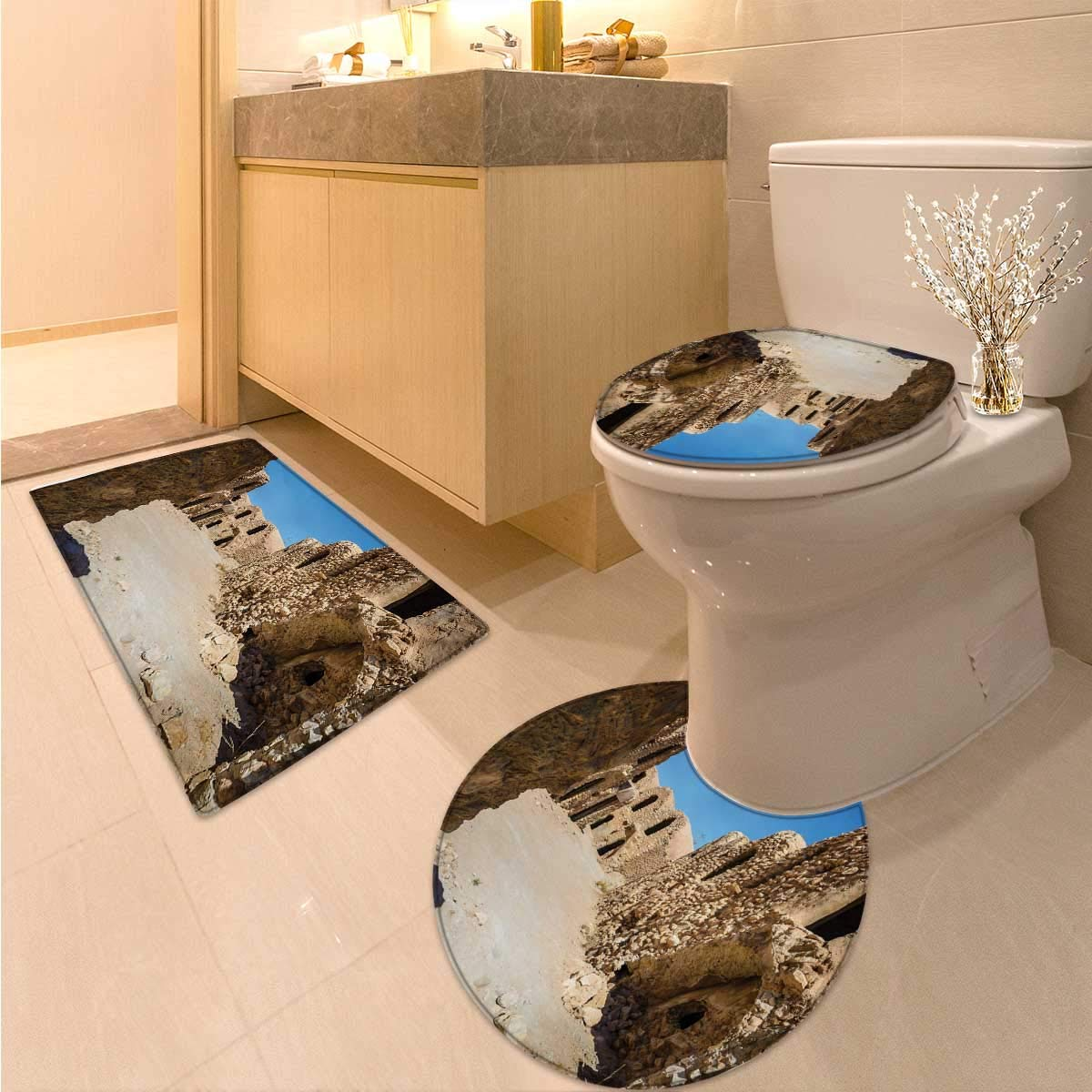 Galaxy 3 Piece Toilet mat Set One of Abandoned Sets of The Movie in The Desert Phantom Menace Antique Cave Houses 3 Piece Toilet Cover Set Brown Blue
