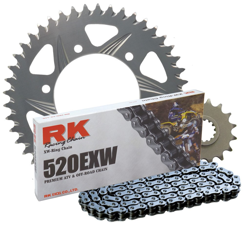 RK Racing Chain 1044-040R Silver Aluminum Rear Sprocket and 520EXW Chain OE Replacement Kit tr-182129