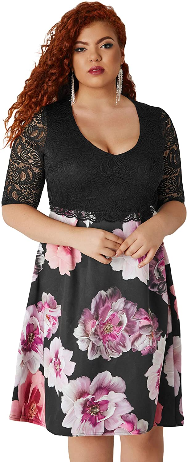 Dear-Queen Women Plus Size Lace Overlay Floral Skirt Curvy ...