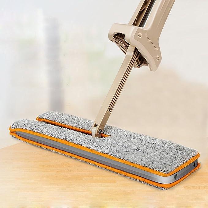 kingko Magic Spin Mop, Double Sided Non Hand Waschen Flat Mop Holzboden Mop Staub Push Mop Home Reinigungs-Tools (Khaki)