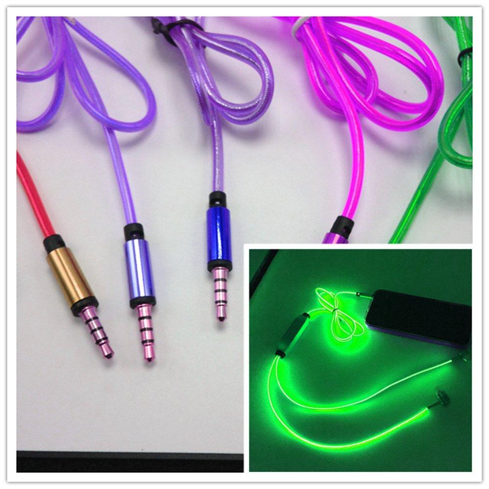 ライティングクール可視光LEDインイヤーイヤホンライトアップマイクライト付きステレオヘッドフォン音楽に点滅ビート有線すべての携帯電話用グローインザダークイヤホン(グリーン)   B06Y2TR4Z4
