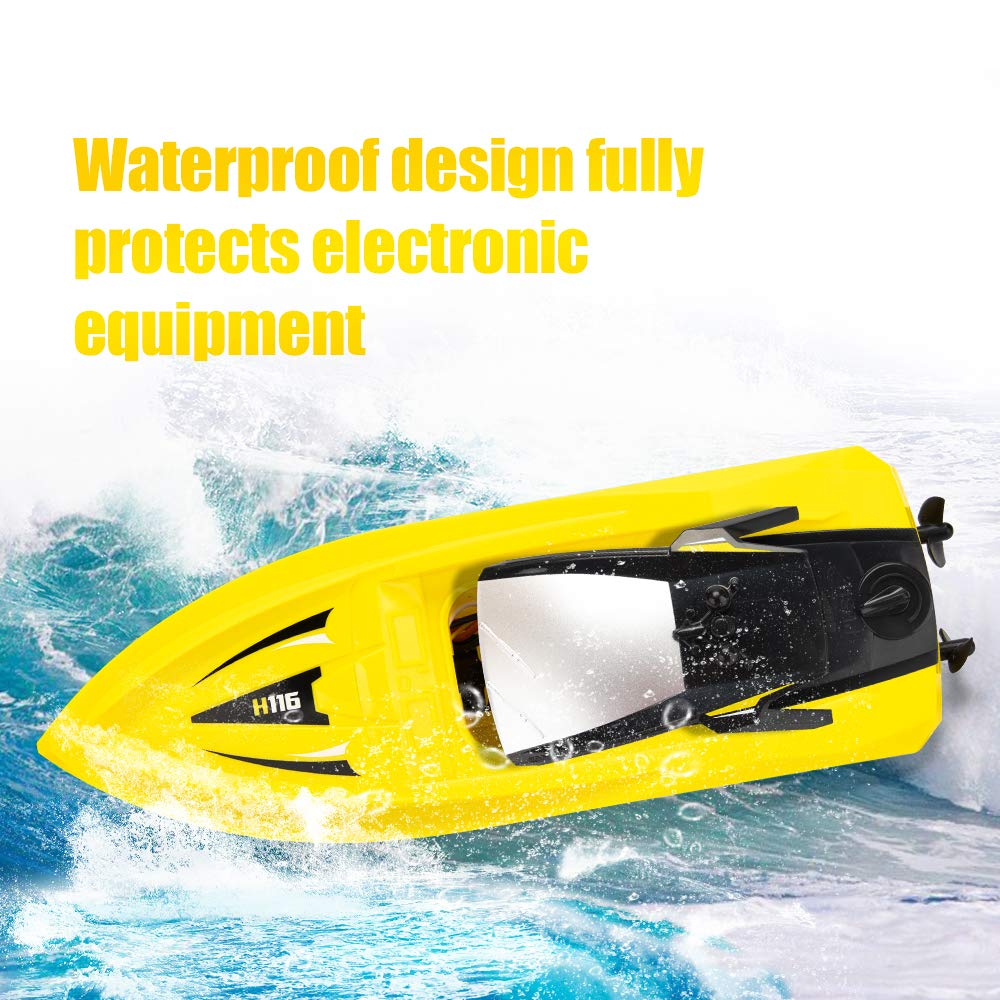 RC Boat Remote Control Boats for Pools and Lakes, ROTOBAND H116 14km/h Self Righting High Speed Boat Toys for Kids Adults Boys Girls(Yellow) by ROTOBAND (Image #6)