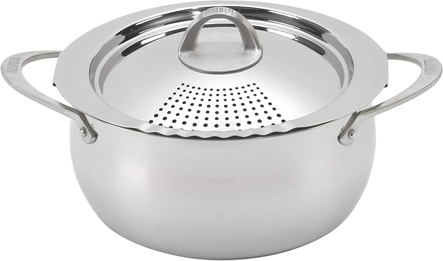 Bialetti 07593 Oval 6 Quart Multi-Pot with Strainer Lid, whole pasta, corn, lobster, Stainless Steel