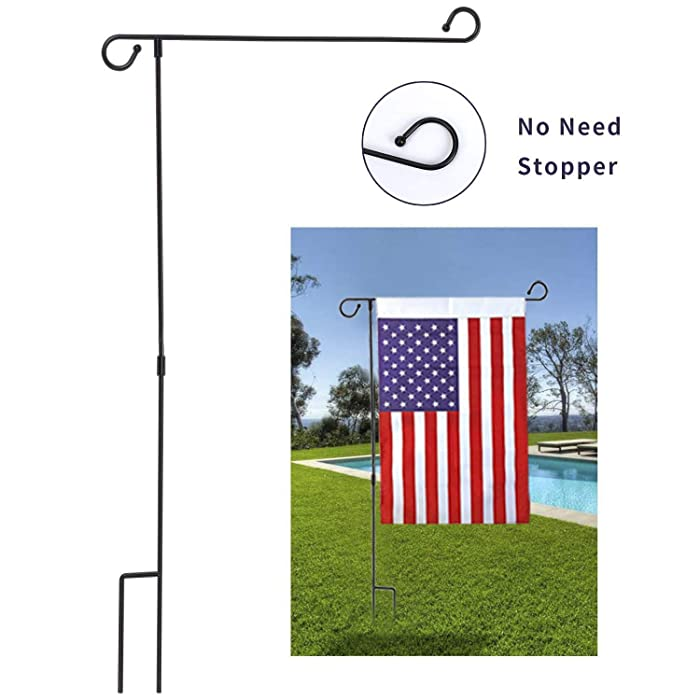 "MAXZONE Garden Flag Stand Banner Flagpole, Black Wrought Iron Yard Garden Flag Pole - Holds Flags up to 12.5"" in Width for Outdoor Garden Lawn"